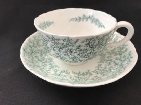 COALPORT Victotrian 'SEAWEED' pattern cup & saucer